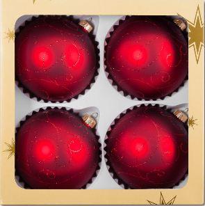 Kupić Bombki delikatnie zdobione - czerwone gałązki