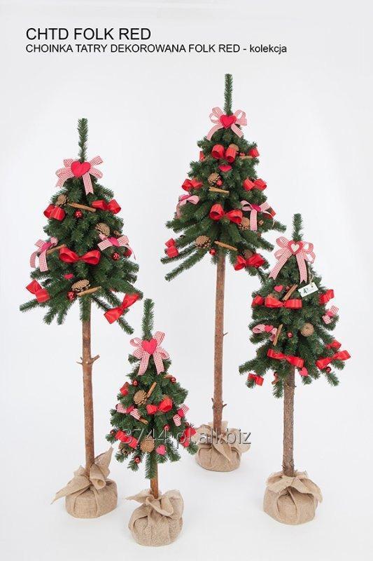 Kupić Choinki sztuczne dekorowane tatry na pniu naturalnym w jucie 80cm/115cm/135cm/160cm kolekcja folk red
