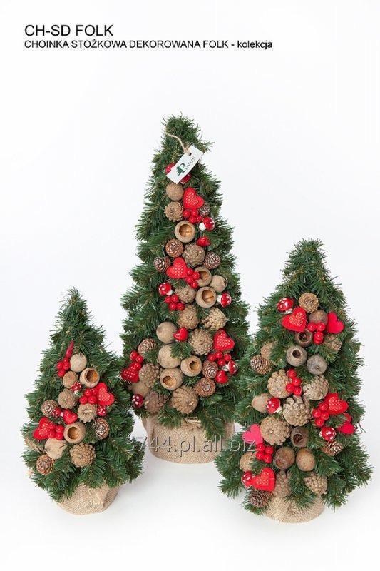 Kupić Choinka -dekorowana -stożkowa w jucie -30 cm kolekcja FOLK-RED