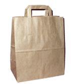 Kupić Torby papierowe eco brązowe - uchwyt papierowy płaski