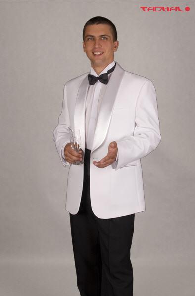 Kupić Klasyczny smoking szaloy w kolorystyce białej, biało-czarnej, lub czarnej, szyty na miarę