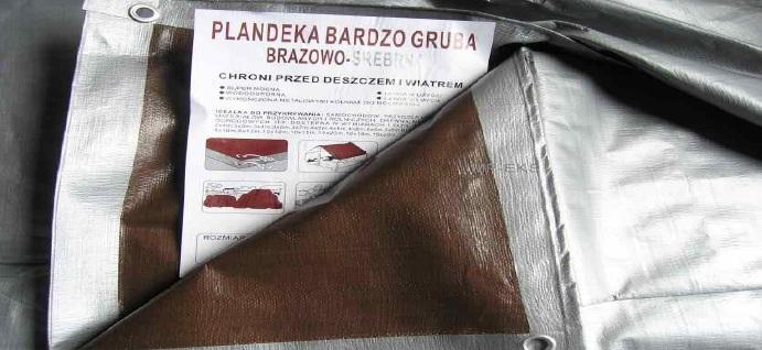 Kupić Plandeka brązowo - srebrna bardzo gruba 210g/m2 - 8 x 12 m