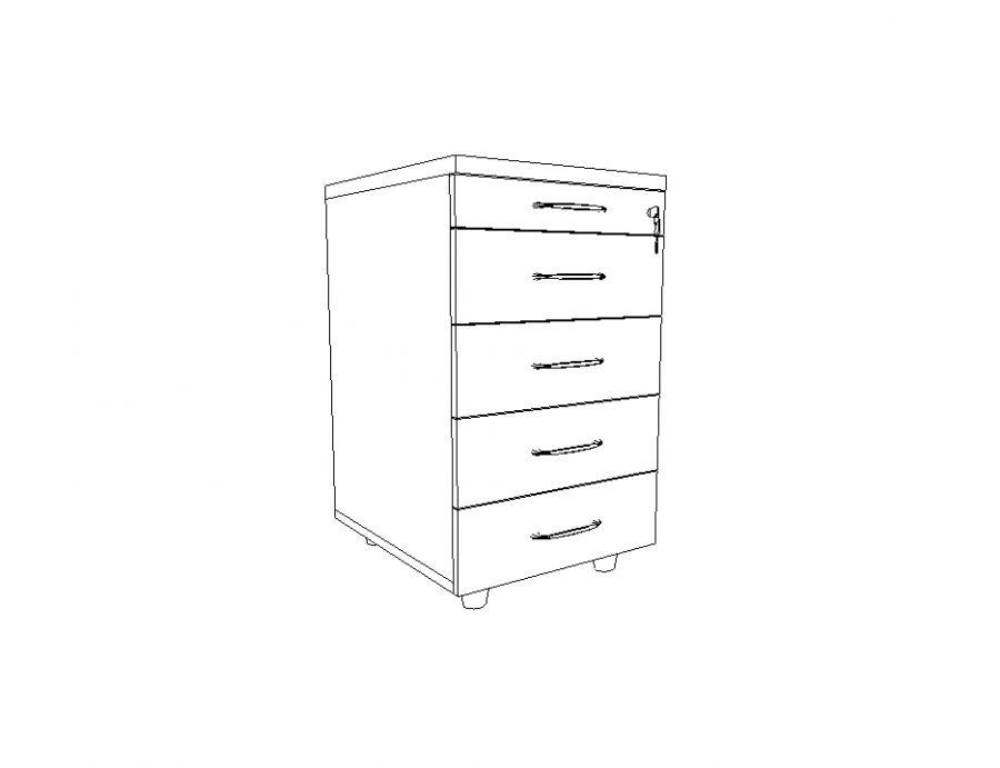 Kupić Kontener dostawiany do biurka płytki 4-szuflady + piórnik 43x52x75h
