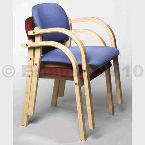 Kupić Drewniane krzesło ELVA z podłokietnikami, tkanina Oban - kolor ciemnozielony, opak. 3 szt.