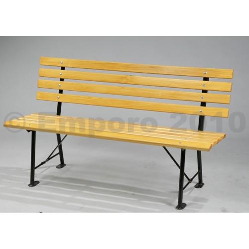 Kupić Klasyczna ławka parkowa, czarna metalowa konstrukcja z masywnych elementów drewnianych