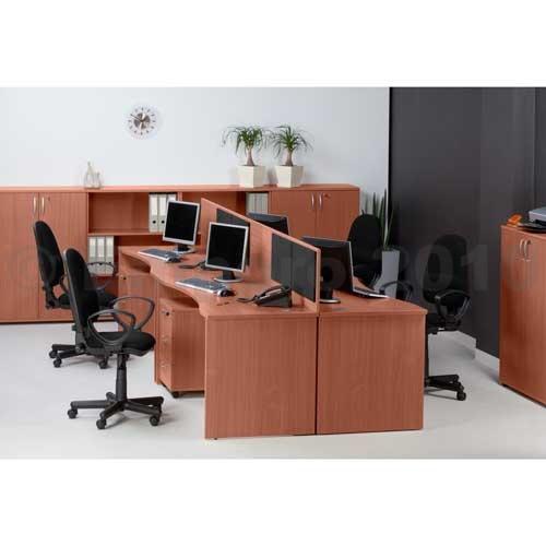 Kupić Biurko standardowe ergonomiczne, noga płytowa, kolor calvados, szer.x gł. 1600 x 680 mm