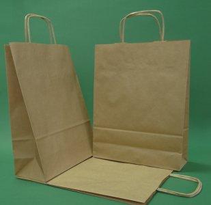 Brun papirpose 24x10x32 cm håndtak strandet