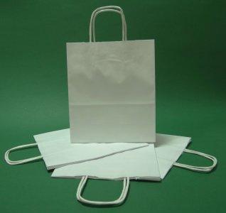 Torba papierowa biała 18x8x21 uchwyt skręcany