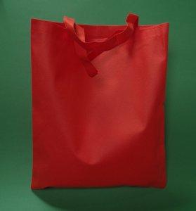 Torba materiałowa czerwona 38x42 cm krótki uchwyt