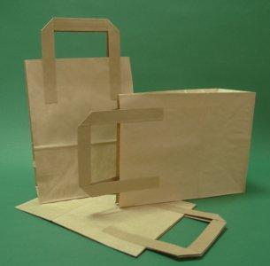 Kupić Torba papierowa z uchwytem płaskim 18x80x23 cm brązowa