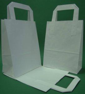 Kupić Torba papierowa z uchwytem płaskim 18x80x23 cm biała