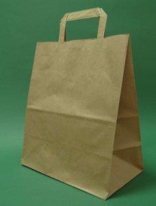 Kupić Torba papierowa z uchwytem płaskim 26x14x30 cm brązowa