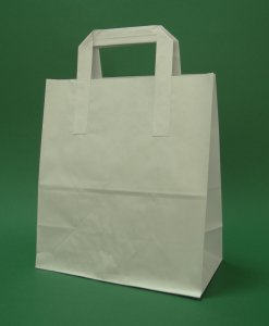 Kupić Torba papierowa z uchwytem płaskim 22x11x28 cm biała