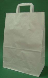 Kupić Torba papierowa z uchwytem płaskim 32x16x43 cm biała