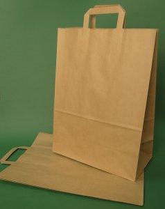 Kupić Torba papierowa z uchwytem płaskim 30x16x40 cm brązowa