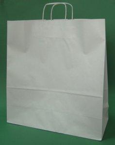 Kupić Torba papierowa biała 45x17x48 cm uchwyt skręcany