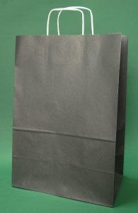 Kupić Torba papierowa czarna 30x17x44 cm uchwyt skręcany