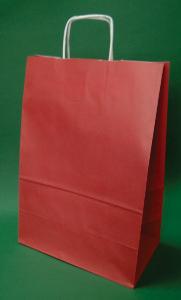 Kupić Torba papierowa czerwona 30x17x44 cm uchwyt skręcany