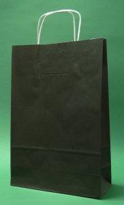 Kupić Torba papierowa czarna 24x10x326 cm uchwyt skręcany