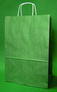 Kupić Torba papierowa ciemnozielona 30x17x44 cm uchwyt skręcany