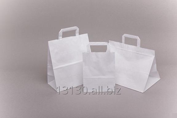 Kupić Torebki z uchwytem płaskim (reklamowe, kateringowe, okazjonalne) 26x14x30 cm, biała