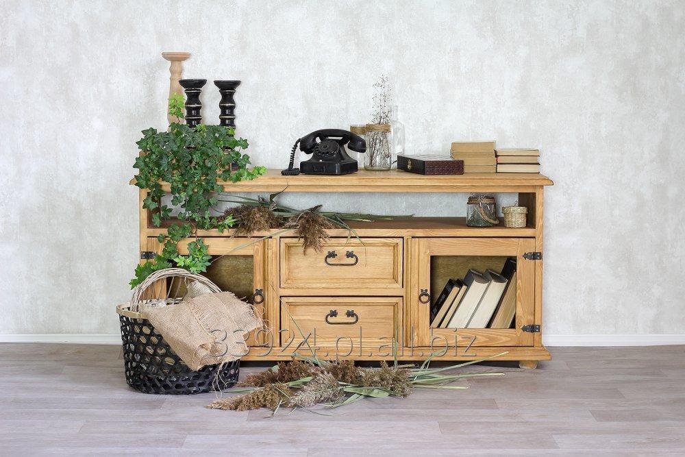 Kupić Szafka RTV z drewna sosnowego woskowana rustykalna RTV 09