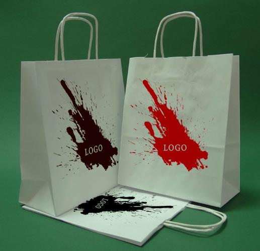 Las bolsas de papel con mango de rosca blanco de impresión + 1 + 0 18x8x21 cm - 400 PC.
