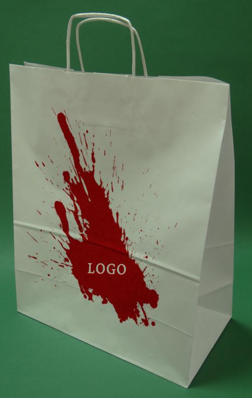 Papir poser med håndtak skru hvite utskrift + 1 + 0 35x18x44 cm - 100 stk.
