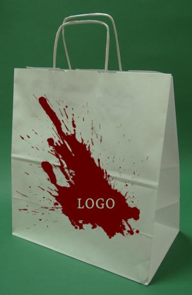 Las bolsas de papel con mango de rosca blanco de impresión + 1 + 0 30x17x34 cm - 5.000 unidades.