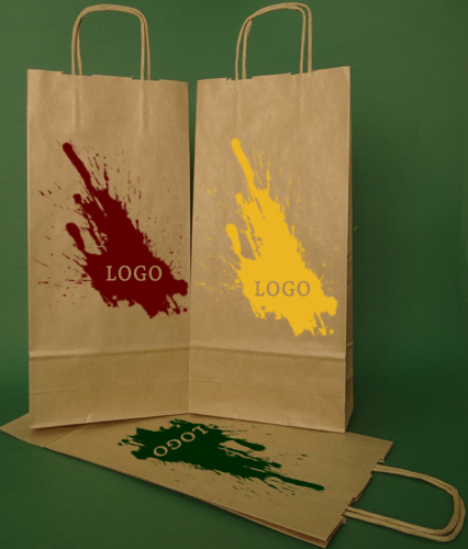 Papir poser med håndtak skrue brun + 1 + 0 print 16x8x39 cm - 400 stk.