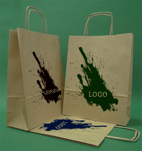 Paper bags with handle screw brown + 1 + 0 print 24x10x32 cm - 5,000 units.