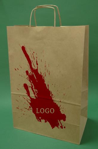 Les sacs en papier avec poignée brun vis + 1 + 0 print 30x17x44 cm - 100 pcs.