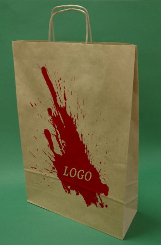 Paper bags with handle screw brown + 1 + 0 print 33x12x50 cm - 200 pcs.