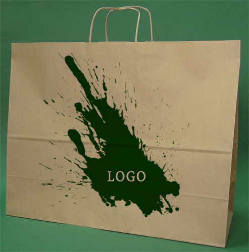 Papir poser med håndtak skrue brun + 1 + 0 print 50x18x39 cm - 100 stk.
