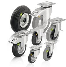 Koła i zestawy kołowe z oponami z miękkiej gumy i oponami z dwuskładnikowej pełnej gumy