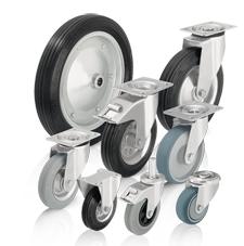 Koła i zestawy kołowe z oponami ze standardowej pełnej gumy i bieżnikiem z gumy