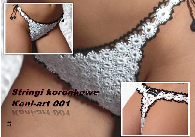 """Kupić Eleganckie stringi koronkowe wykonane z koronki koniakowskiej we wzorze """"pajączek"""""""