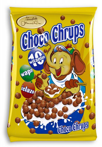 Kupić Choco Chrups kuleczki zbożowe o smaku czekoladowym wzbogacone witaminami, żelazem i wapniem.