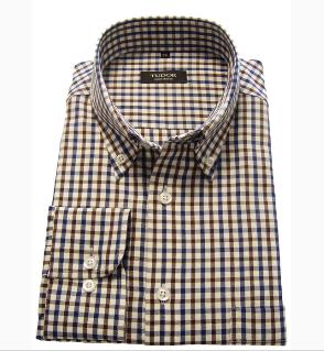 Kupić Koszulka męska długi rękaw krateczka granatowo brązowa