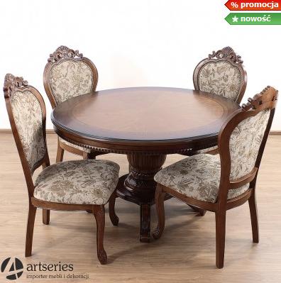 Kupić Duży okrągły stół drewniany ze stylowymi krzesłami tapicerowanymi