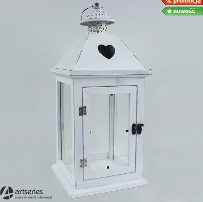 Kupić Biała latarnia 24302 wykonana z drewna z serduszkiem na daszku