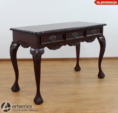 Kupić Piękne biurko rzeźbione z 3 szufladami w blacie 117054 konsola