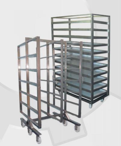 Kupić Wózki i regały wędzarnicze stosowane w przetwórniach wędlin jako technologiczny środek transportu