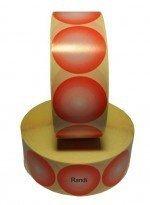 Kupić  Etykiety samoprzylepne półbłysk fi65, 2 kolory: czerwony z tonacją do białego 1000 szt.