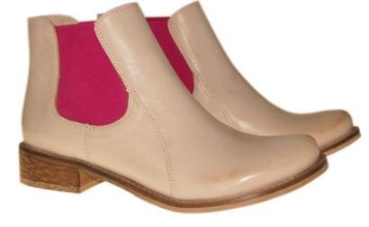 Kupić Wygodne botki na jesień w kolorze beżowym z różową wstawką z gumy