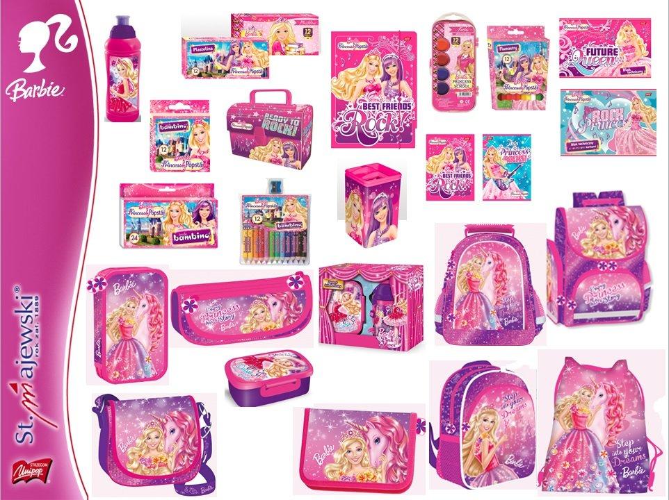 Kupić Produkty szkolne z licencji Barbie- tornistry, plecaki, worki, piórniki, śniadaniówki, bidony, zestawy śniadaniowe, kuferki kartonowe,teczki, bloki, kredki, zeszyty, notatniki, wycinanki, farby, segregatory, pióra, ołówki, długopisy.