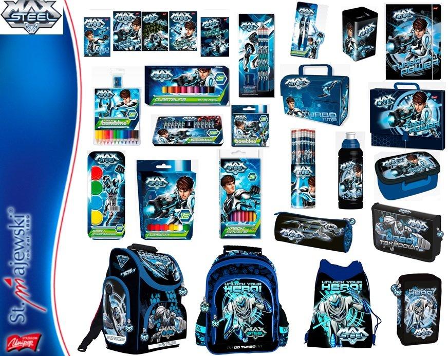 Kupić Produkty szkolne z kolekcji MAX STEEL - plecaki, piórniki, torby,worki, śniadaniówki, bidony, zestawy śniadaniowe, zeszyty, bloki, kredki, teczki, flamastry, segregatory, farby, plastelina, bruliony, długopisy, ołówki, itp.