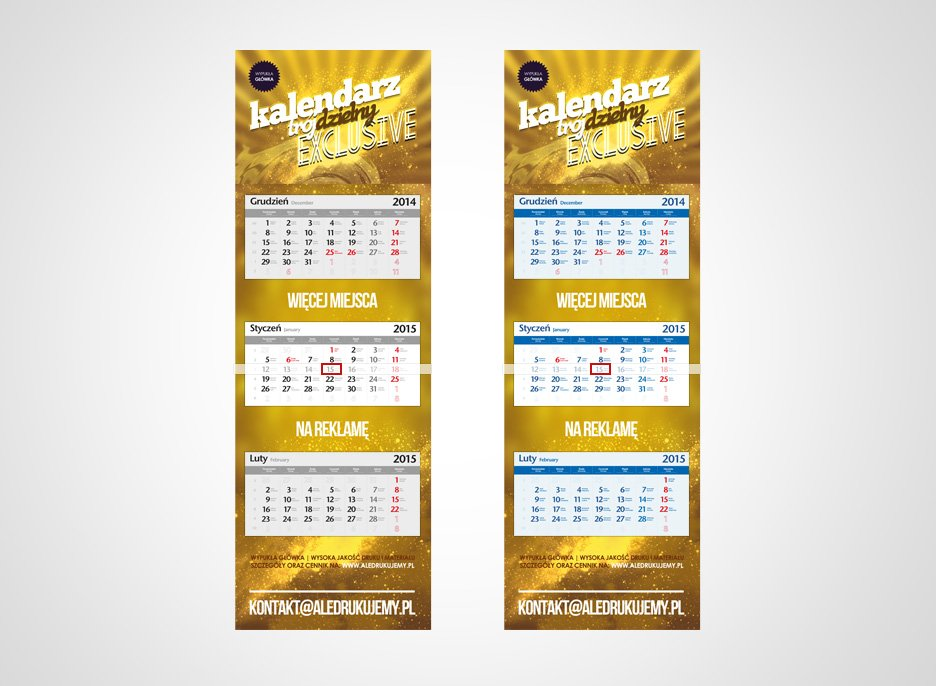Kupić Kalendarze trójdzielne EXCLUSIVE Wypukła Główka od 7,79zł