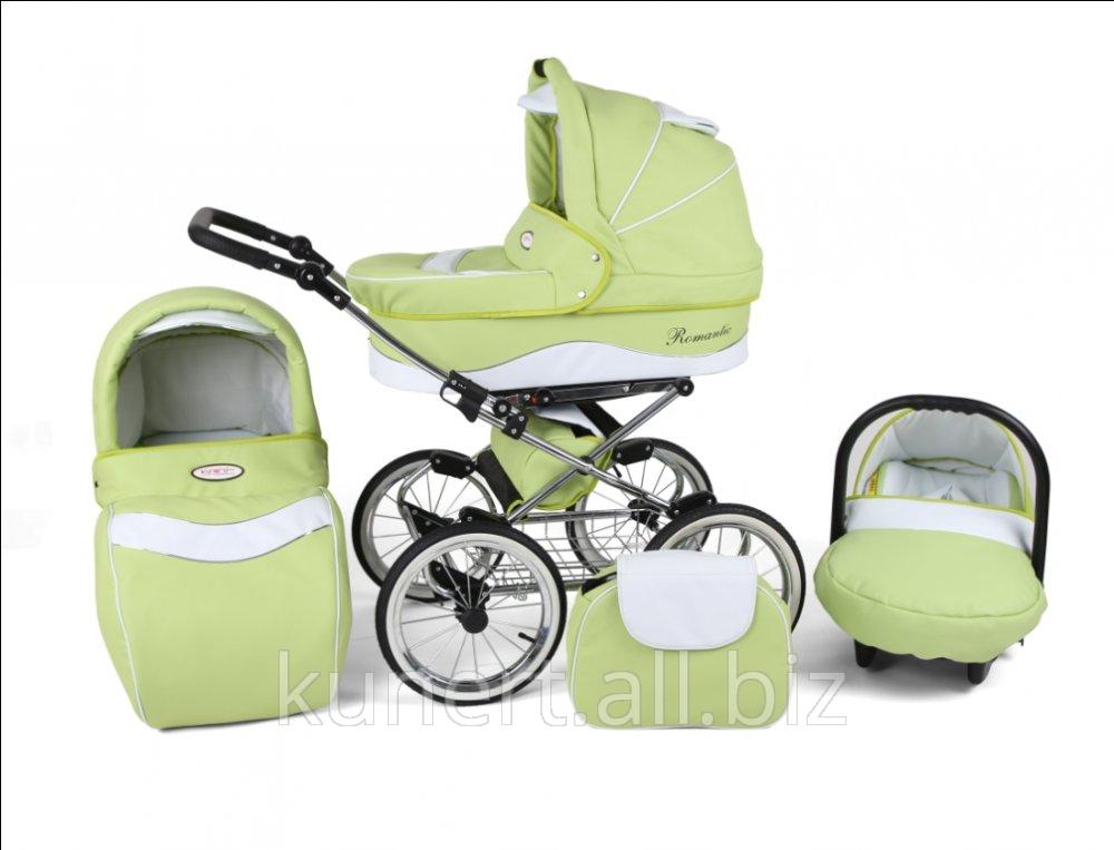 Kupić Wózek wielofunkcyjny Romantic z eko-skóry, na kołach pompowanych i z perfekcyjną amortyzacją. Wielofunkcyjny - z torbą i fotelikiem w komplecie.
