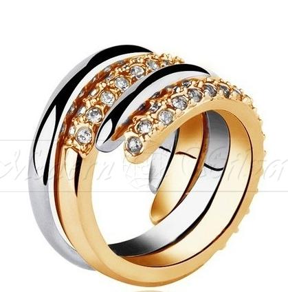Kupić Obrączka z kryształami Swarovskiego pozłacana 18K- Ireth